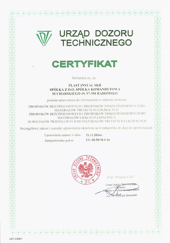 Certyfikat Urzędu Dozoru Technicznego