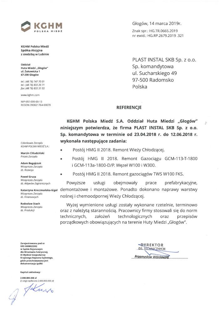 Referencje KGHM Polska Miedź S.A.