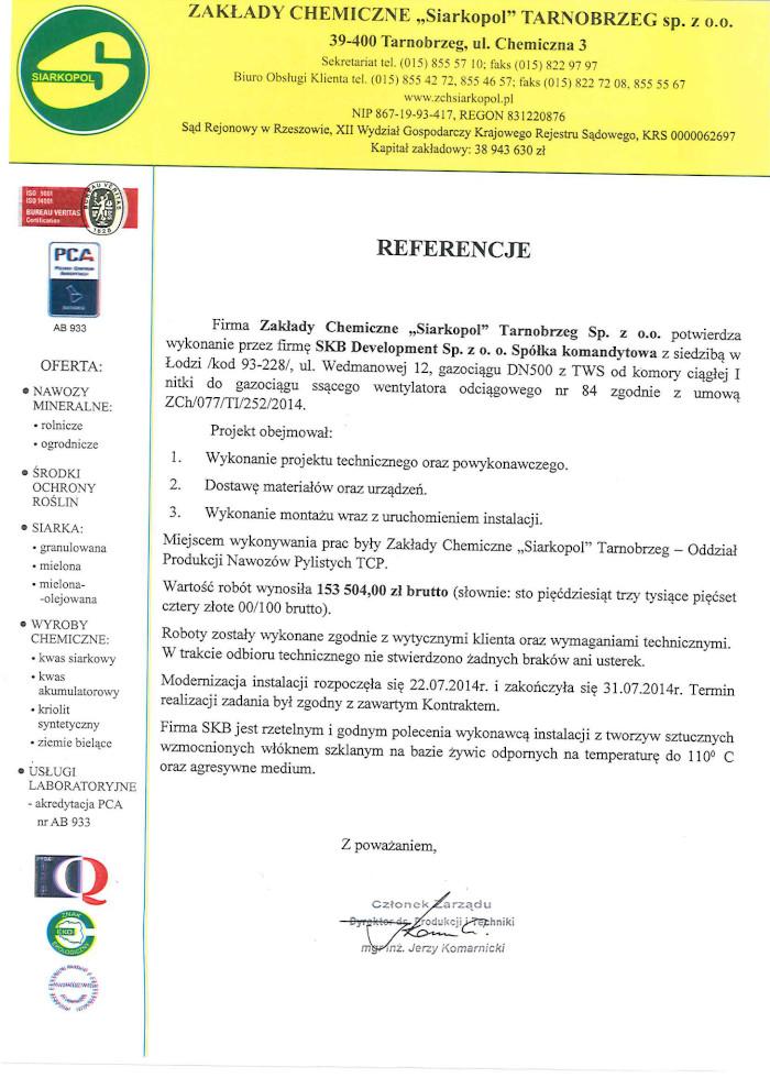 """Referencje Zakłady Chemiczne """"Siarkopol"""""""