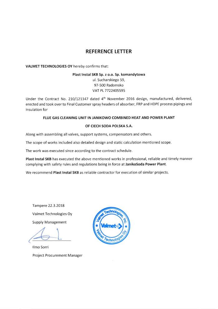 Referencje Valmet Technologies Oy